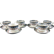 Set/6 English Victorian Transferware Cups & Saucers - Copeland Denmark 1881