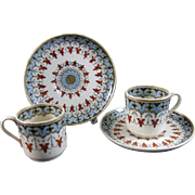 Pair English Victorian Demitasse Cup & Saucer Sets - Copeland Denmark 1881