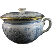 English Victorian Staffordshire Transferware Covered Chamber Pot - 1893