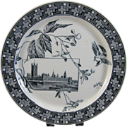 Aesthetic Movement Black Transferware Plate - 1882