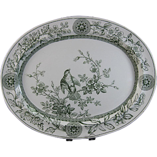 Large Victorian Staffordshire Platter with Bird - 1886