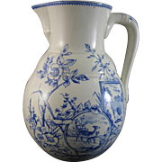 Large Victorian Aesthetic Movement Transferware Wash Pitcher ca. 1880s