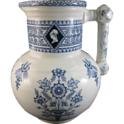 Large Victorian Aesthetic Movement Blue Transferware Wash Pitcher ca. 1860s-70s