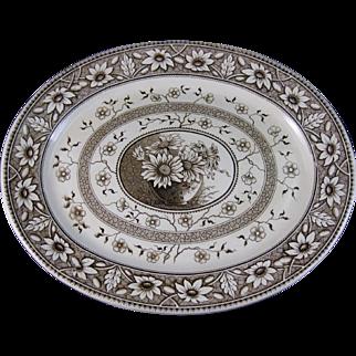 Huge Victorian Aesthetic Brown Transferware Platter 1883