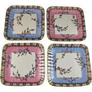 Set of 4 Victorian Staffordshire Square Dessert Plates - 1882