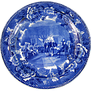 Historical Victorian Blue Transferware Plate Wedgwood - Signing of Declaration of Independence ca. 1899