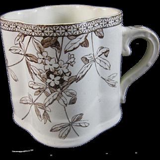 Victorian Brown Transferware Mug - 1880s