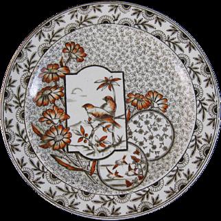 Victorian Aesthetic Brown Transferware Plate w/ Birds - 1884