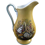 English Victorian Prattware Transferware Pitcher ~ Seashells & Coral ~ ca.1860