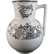 Large Aesthetic Brown Transferware Pitcher - 1880s