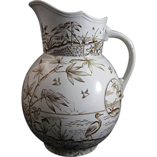Large Aesthetic Brown Transferware Pitcher 1884