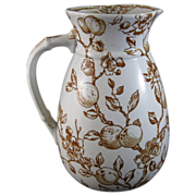 Large Victorian Aesthetic Brown Transferware Pitcher 1880 - Apples