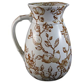 Large Victorian Aesthetic Brown Transferware Pitcher 1880
