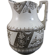 Aesthetic Brown Transferware Cream Pitcher 1884