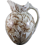 Large Staffordshire Victorian Brown Transferware Wash Pitcher - 1887
