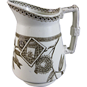 English Victorian Brown Transferware Pitcher - 1881