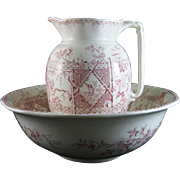 Large English Victorian Red / Pink Transferware Pitcher & Bowl Set 1887
