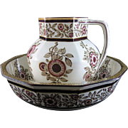 Large English Aesthetic Polychrome Transferware Pitcher & Bowl Set 1870s-80s