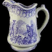 Large Staffordshire Lavender Transferware Pitcher ca. 1856