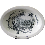 English Aesthetic Movement Transferware Oval Bowl 1882