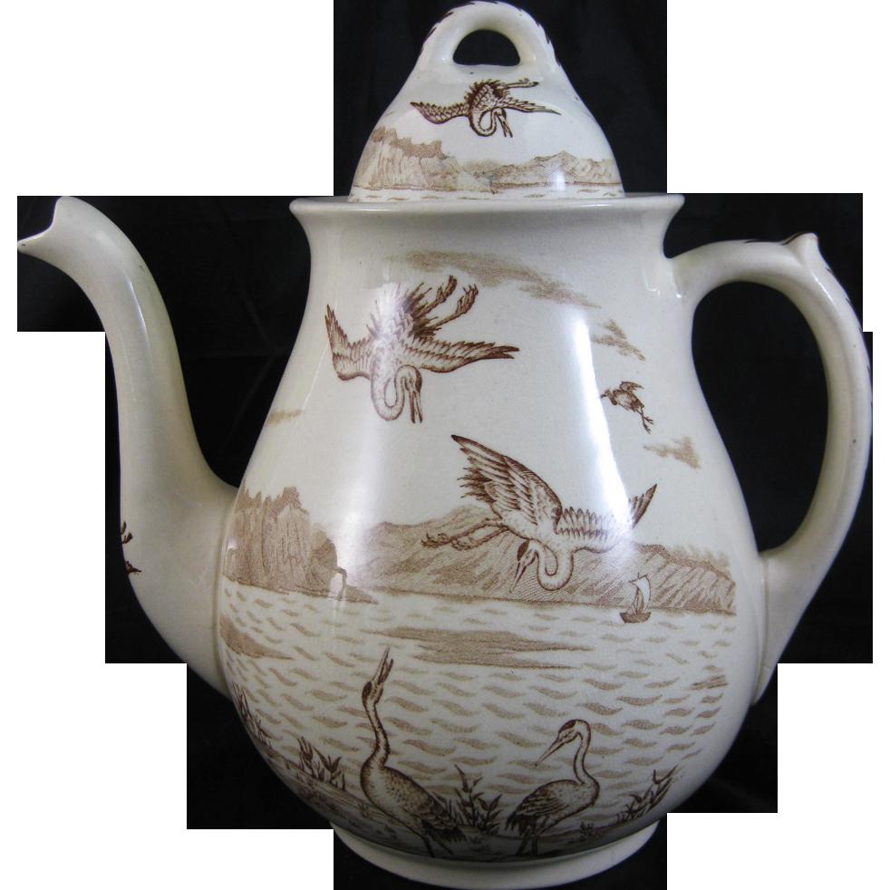 Large Victorian Aesthetic Brown Transferware Teapot