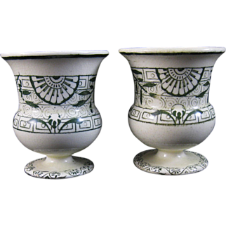 Rare Pair Wedgwood Aesthetic Transferware Egg Cups 1883