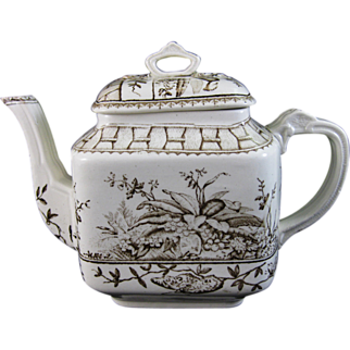 Aesthetic Brown Transferware Teapot - Moths & Foliage 1883