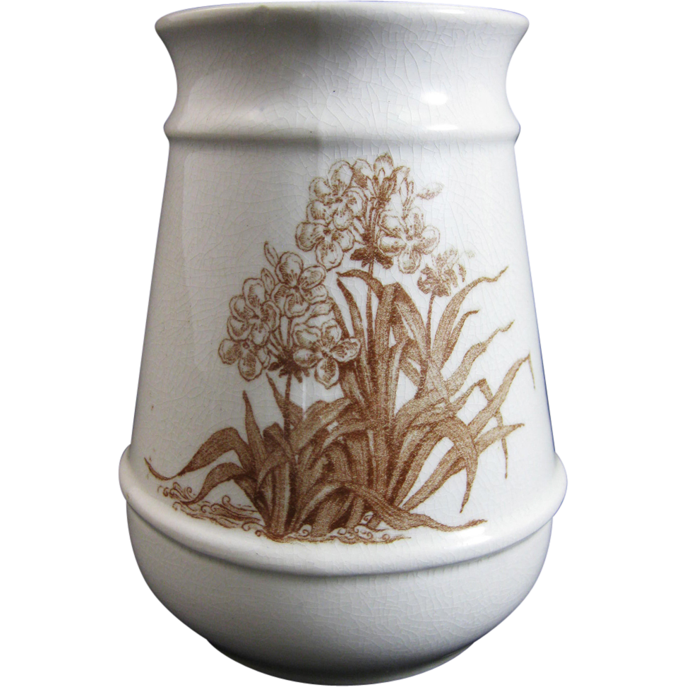 Aesthetic brown transferware toothbrush holder 1880s from englishvictorian on ruby lane - Victorian toothbrush holder ...