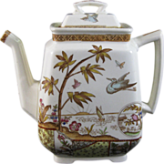 Rare Aesthetic Brown / Polychrome Transferware Teapot 1883