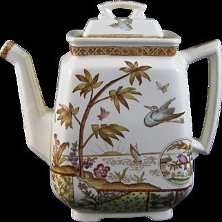 Rare Aesthetic Brown / Polychrome Transferware Teapot 1883