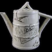 Very Rare English Aesthetic Movement Transferware Child's Teapot 1880s