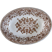 English Victorian Brown Transferware Soap Dish 1885