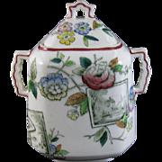 Victorian Staffordshire Transferware Covered Sugar Jar / Bowl - 1884