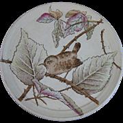 English Victorian Brown Transferware Polychrome Tea Trivet with Bird - ca. 1879