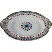 English Victorian Transferware Oval Footed Serving Dish - Copeland Denmark Late 1800s (2 available)