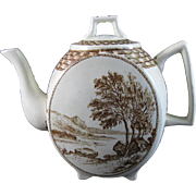 Large Unusual Aesthetic Brown Transferware Teapot 1800s