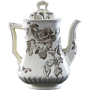 Large Victorian Brown Transferware Coffee Pot - 1884