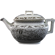 Aesthetic Brown Transferware Teapot - Yosemite 1800s