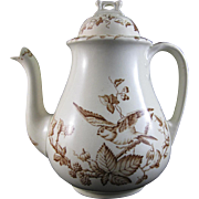 Victorian English Brown Transferware Coffee Pot - Birds  ca.1870s-1880s