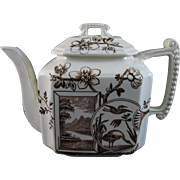 Victorian English Brown Transferware Teapot - Birds & Floral 1884