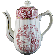 English Victorian Red Transferware Teapot - Garden Flowers  1889
