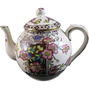 English Victorian Brown Transferware / Polychrome Teapot - 1880s