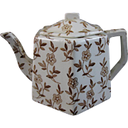 Child's English Victorian Brown Transferware Teapot - 1880s