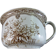 English Victorian Brown Transferware Chamber Pot  - Late 1800s