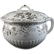 Victorian / Aesthetic movement Brown Transferware Covered Chamber Pot - 1884
