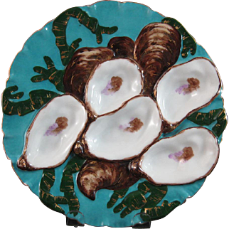 Victorian Haviland Limoges Porcelain 5-Well Turkey Oyster Plate #2 - ca. 1879-1883 (30% OFF)