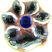 Victorian English Majolica 6-well Oyster Plate ca. 1870s (30% OFF)
