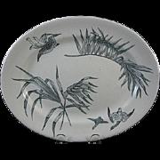 Aesthetic Black Transferware Platter – Cranes & Palms 1885 – 1 of 2