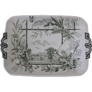 Victorian Green Transferware Tray  - Scottish Scenes 1883