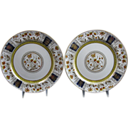 Pair Brown Transferware / Polychrome Plates ca. 1880s